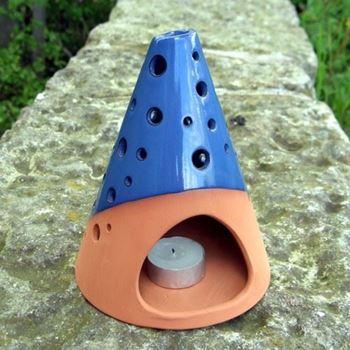 Picture of Blue Glazed Cone Lanterns