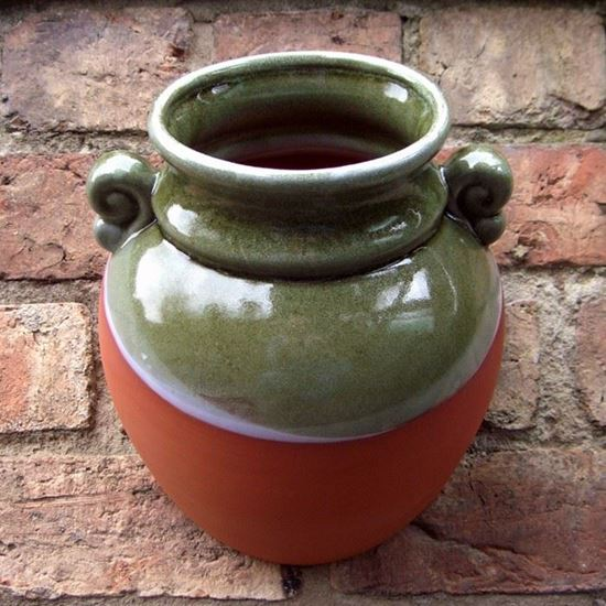 Picture of Classical Urn Wall Planters with Green Glaze
