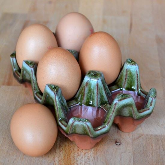 Picture of Ceramic Egg Rack | 6 Eggs - Apple Green Glaze