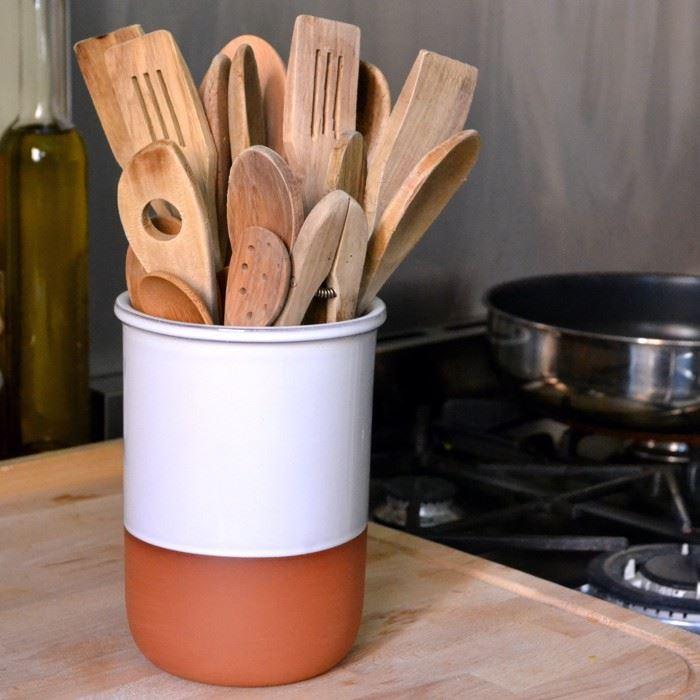 Utensil Pot Terracotta With White Glaze Terracotta Uk