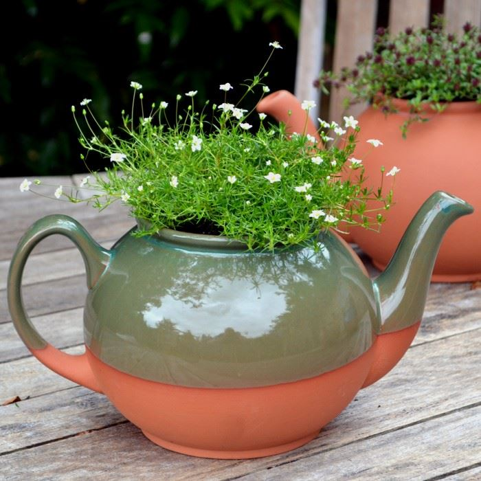 Teapot Planter With Green Glaze