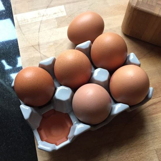 Picture of Ceramic Egg Tray with Pale Grey Glaze | 6 Eggs