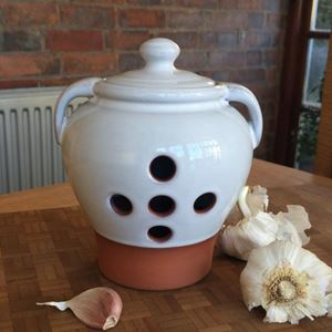 Picture of Garlic Pot Large - Terracotta with Translucent White Glaze