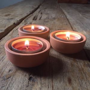 Picture of Terracotta Tealight Holders - Set of 3